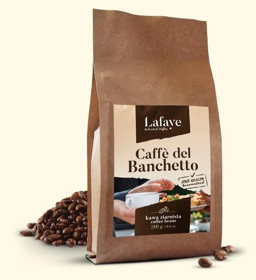 CAFFE DEL BANCHETTO 250G 19,99 ZŁ Coffee del Banchetto idealna propozycja dla osób lubiących mocne i aromatyczne espresso. Po zaparzeniu kawa ma wyczuwalną przyjemną czekoladowo-orzechową nutę oraz delikatną kwasowość. Dodatkowym atutem jest gruba crema o pięknym orzechowym kolorze.