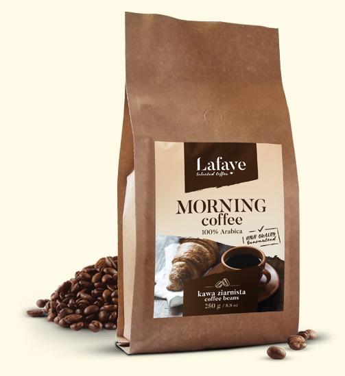 MORNING COFFEE 250G 24,99 ZŁ Mieszanka 3 wyrazistych odmian ziaren Arabiki, przeznaczona dla osób traktujących kawę jako niezbędny element podtrzymania aktywności umysłu.