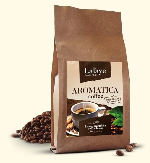 AROMATICA COFFEE 250G 24,99 ZŁ Dzięki zawartości odpowiedniej dawki Robusty Cherry odpowiednio nas pobudzi i doda pozytywnej energii. Specjalny proces palenia zapewnia delikatny smak oraz odpowiedni poziom kwaskowości, wydobywa też przyjemne aromaty z nutami orzechowymi.