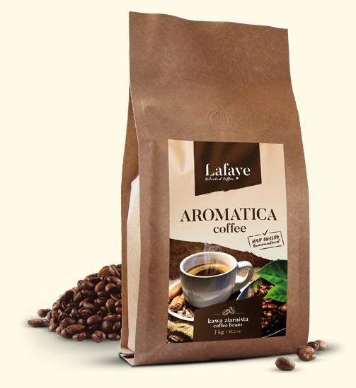 AROMATICA COFFEE 1KG 24,99 ZŁ Dzięki zawartości odpowiedniej dawki Robusty Cherry odpowiednio nas pobudzi i doda pozytywnej energii. Specjalny proces palenia zapewnia delikatny smak oraz odpowiedni poziom kwaskowości, wydobywa też przyjemne aromaty z nutami orzechowymi.