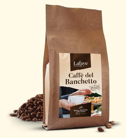 CAFFE DEL BANCHETTO 500G 19,99 ZŁ Coffee del Banchetto idealna propozycja dla osób lubiących mocne i aromatyczne espresso. Po zaparzeniu kawa ma wyczuwalną przyjemną czekoladowo-orzechową nutę oraz delikatną kwasowość. Dodatkowym atutem jest gruba crema o pięknym orzechowym kolorze.