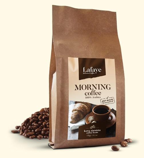 MORNING COFFEE 1KG 24,99 ZŁ Mieszanka 3 wyrazistych odmian ziaren Arabiki, przeznaczona dla osób traktujących kawę jako niezbędny element podtrzymania aktywności umysłu.