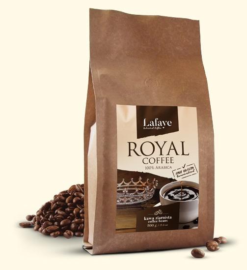 ROYAL COFFEE 500G 24,99 ZŁ Intensywna, aromatyczna kompozycja ROYAL COFFEE o zbalansowanej kwasowości. Taka właśnie jest autorska mieszanka 100% Arabic, której pomysł narodził się w naszych kubkach smakowych.
