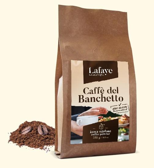 CAFFE DEL BANCHETTO KAWA MIELONA 250G 19,99 ZŁ Coffee del Banchetto idealna propozycja dla osób lubiących mocne i aromatyczne espresso. Po zaparzeniu kawa ma wyczuwalną przyjemną czekoladowo-orzechową nutę oraz delikatną kwasowość. Dodatkowym atutem jest gruba crema o pięknym orzechowym kolorze.