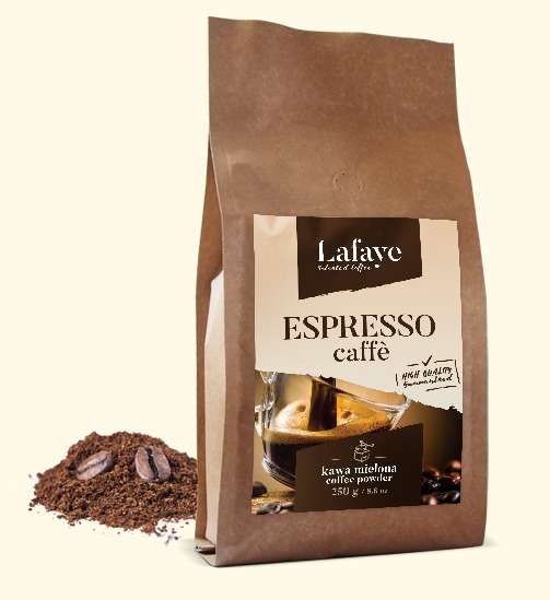 ESPRESSO CAFFE KAWA MIELONA 250G 24,99 ZŁ Lafaye Espresso, to zrównoważony, a zarazem intensywny smak i aromat. Połączenie nut czekoladowych z przyjemną kwasowością. Wszystko, to dzięki autorskiej mieszance ziaren Gwatemali, Rwandy Bourbon i Indii Cherry.