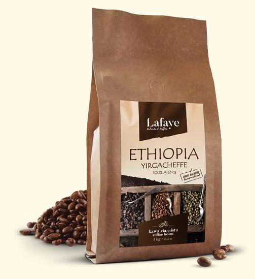 ETHIOPIA YIRGACHEFFE 1KG 29,99 ZŁ Ma delikatną kwasowość, ciało i smak. Wiele osób przyciąga delikatne, kwiatowe i herbaciane cechy.