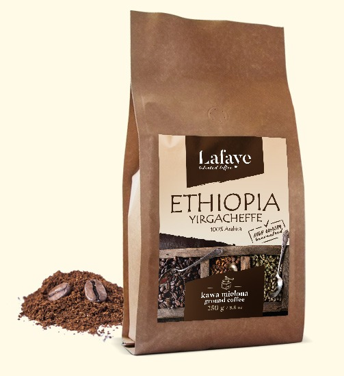 ETHIOPIA YIRGACHEFFE KAWA MIELONA 250G 29,99 ZŁ Ma delikatną kwasowość, ciało i smak. Wiele osób przyciąga delikatne, kwiatowe i herbaciane cechy.
