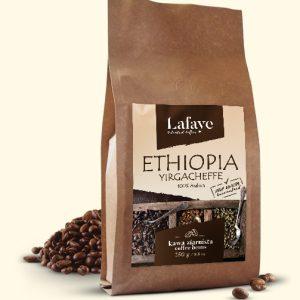 ETHIOPIA YIRGACHEFFE 250G 29,99 ZŁ Ma delikatną kwasowość, ciało i smak. Wiele osób przyciąga delikatne, kwiatowe i herbaciane cechy.