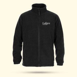 Ciepły i miły polar w kolorze czarnym z logo Lafaye