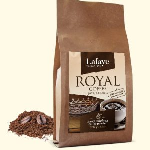 ROYAL COFFEE 250G KAWA MIELONA 24,99 ZŁ Intensywna, aromatyczna kompozycja ROYAL COFFEE o zbalansowanej kwasowości. Taka właśnie jest autorska mieszanka 100% Arabic, której pomysł narodził się w naszych kubkach smakowych.