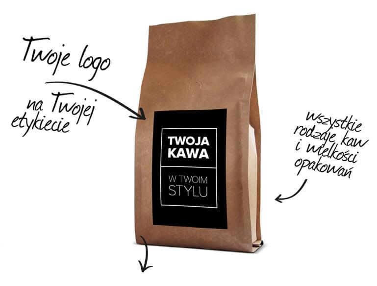 KAWA Z WŁASNYM LOGO Paczka kawy z własnym logotypem firmowym? Z Lafaye jest to możliwe! Doświadczeni technolodzy kawowi przygotują specjalnie dla Ciebie unikatowy produkt dostosowany dokładnie do Twych potrzeb oraz preferencji. Nadaj codziennej kawie niezwykłości! Wybierz propozycję kawową, która najbardziej Ci odpowiada, a my w oparciu o nią stworzymy Twą osobistą markę.